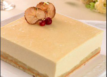 עוגת מוס ווניל, קרמל  ותפוחים