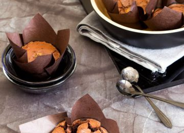 עוגת שוקולד חמה עם ליבת לוטוס